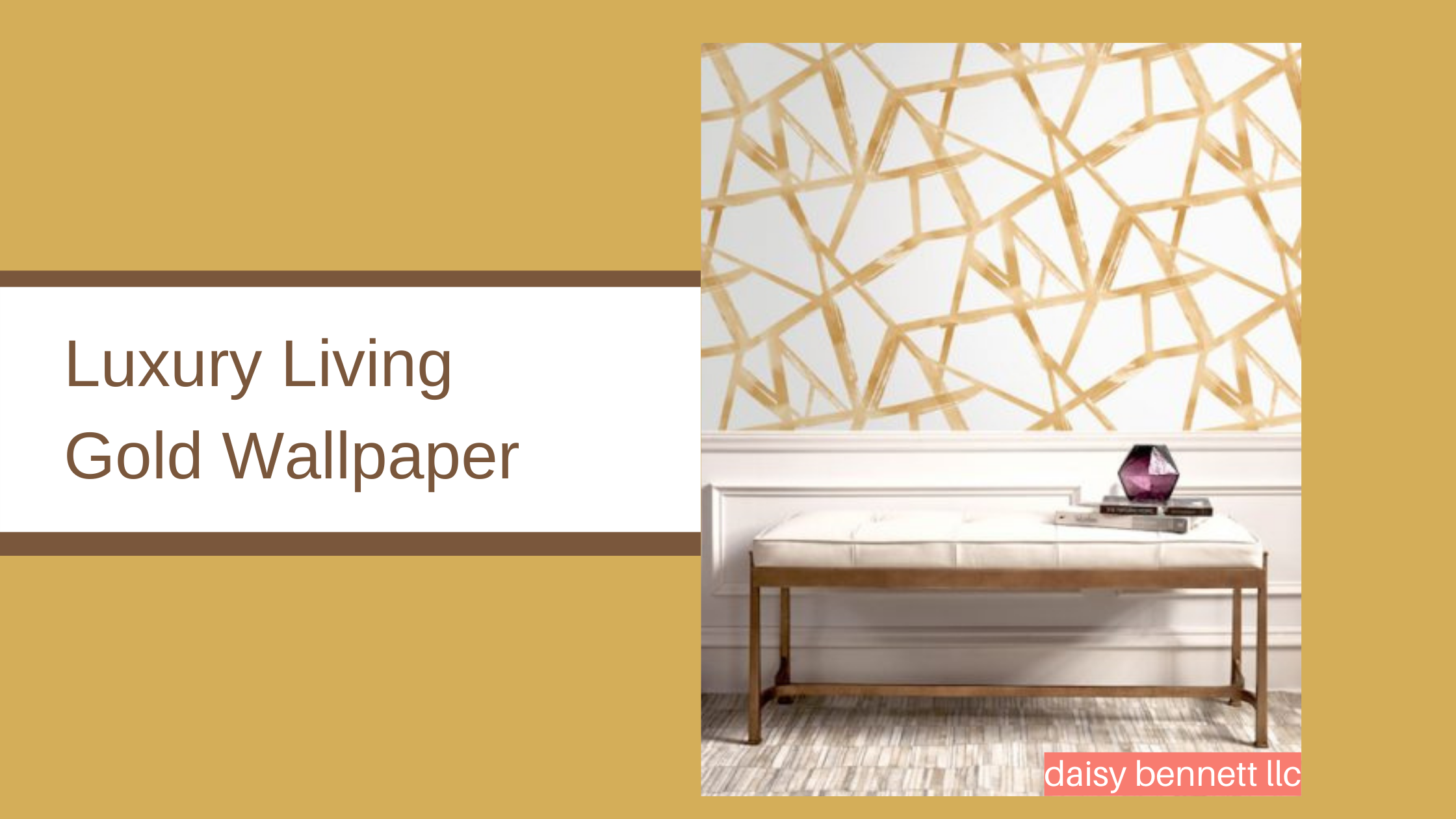 gold and white wallpaper in crackle pattern, Tribeca by daisy bennett designs
